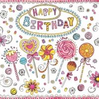 Serwetki 33x33 cm - Happy Birthday Lollipops
