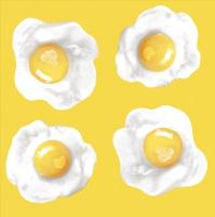 Servietten 33x33 cm - Fried Eggs Yellow Green
