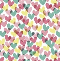Servietten 33x33 cm - Colourful Hearts