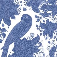 Servilletas 33x33 cm - Blue Graphic Parrot and Floral Pattern