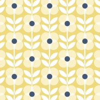 Napkins 33x33 cm - Yellow Flowers Pattern with Blue Dot