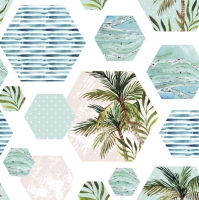 Napkins 33x33 cm - Palms in Hexagons with Blue Background