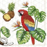 Napkins 33x33 cm - Parrots with Tropical Motifs
