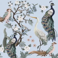 Napkins 33x33 cm - Peacocks and Heron in Garden on Blue