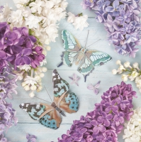 Napkins 33x33 cm - Lilac Collage with Butterflies