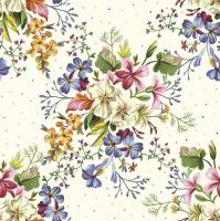 Serviettes 33x33 cm - Delicate Flowers with Mini Dots