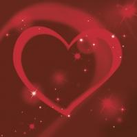 Serviettes 33x33 cm - Red Neon Heart