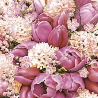 Napkins 33x33 cm - Cute Pink Bouquet