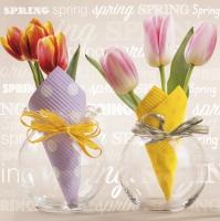 Napkins 33x33 cm - Tulips in Paper Cones