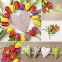 Napkins 33x33 cm - Colourful Tulips with Hearts