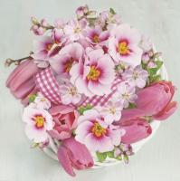 Napkins 33x33 cm - Pink Bunch in Wreath