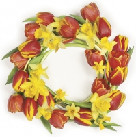 Napkins 33x33 cm - Red Tulips Wreath