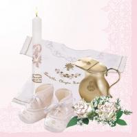 Serviettes 33x33 cm - Christening Composition Pink