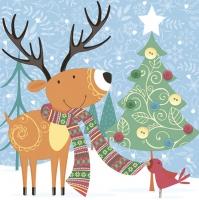 Napkins 33x33 cm - Happy Reindeer