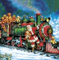 Serwetki 33x33 cm - Santa Teddy Bear Train