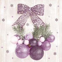 Napkins 33x33 cm - Violet and Pink Baubles with Bow