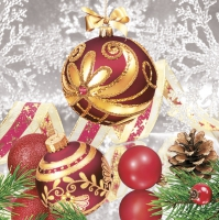 Serwetki 33x33 cm - Elegance Red Baubles with Snowflakes
