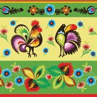 Serwetki 33x33 cm - Folklore Roosters Green & Cream