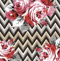 Napkins 33x33 cm - Roses on a Gold and Silver Zig Zag