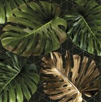 Servietten 33x33 cm - Monstera on a Golden Graphic Net
