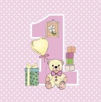 Servietten 33x33 cm - First Birthday with Teddy Pink