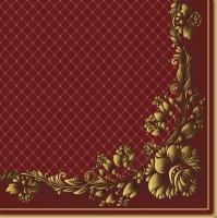 Servietten 33x33 cm - Gold Frame and Net on Crimson