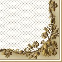 Napkins 33x33 cm - Gold Frame and Net on Beige