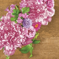 Napkins 33x33 cm - Pink Wreath with Peonies