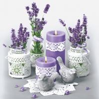 Napkins 33x33 cm - Lace Flower Pots with Lavender