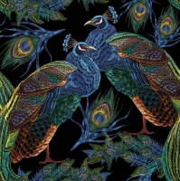 Napkins 33x33 cm - Embroidered Peacocks with Feathers