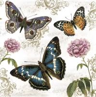Servietten 33x33 cm - Butterflies on Retro Background
