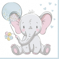 Servietten 33x33 cm - Baby Elephant with Blue Balloon