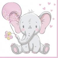 Servietten 33x33 cm - Baby Elephant with Pink Balloon