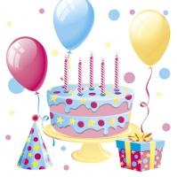 Serwetki 33x33 cm - Bday Cake with Balloons