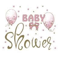 Servietten 33x33 cm - Baby Shower Pink