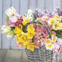 Servilletas 33x33 cm - Spring Mix Flowers in Basket