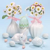 Napkins 33x33 cm - Daisies in White Flowerpots on Blue Background