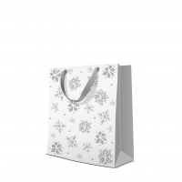 10 gift bags - Glitter Snowflakes silver