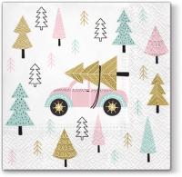 Napkins 33x33 cm - Christmas Car pink