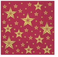Napkins 33x33 cm - Beatiful Stars dark red