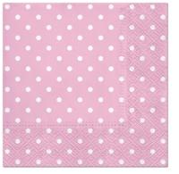 Napkins 33x33 cm - Dots (light pink)