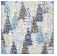 Serviettes 33x33 cm - Glittery Spruces blue