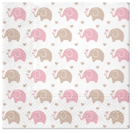Napkins 33x33 cm - Baby Elephants (pink)