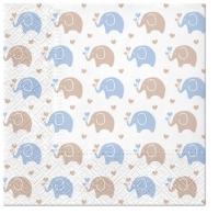 Napkins 33x33 cm - Baby Elephants (blue)