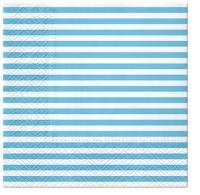 Servietten 33x33 cm - Lines (light blue)