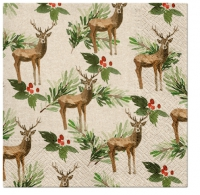 Serviettes 33x33 cm - Deers and Holly