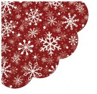 Serwetki - okrągłe - Christmas Snowflakes red