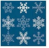 Servilletas 33x33 cm - Big Snowflakes dark blue