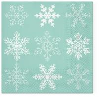 Servilletas 33x33 cm - Big Snowflakes mint
