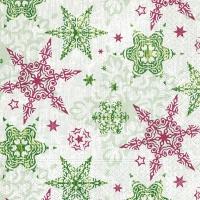 Napkins 33x33 cm - Delicate stars green